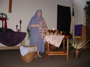 Good Friday skit - Portrait of Mary, played by Pastor Melody Olin
